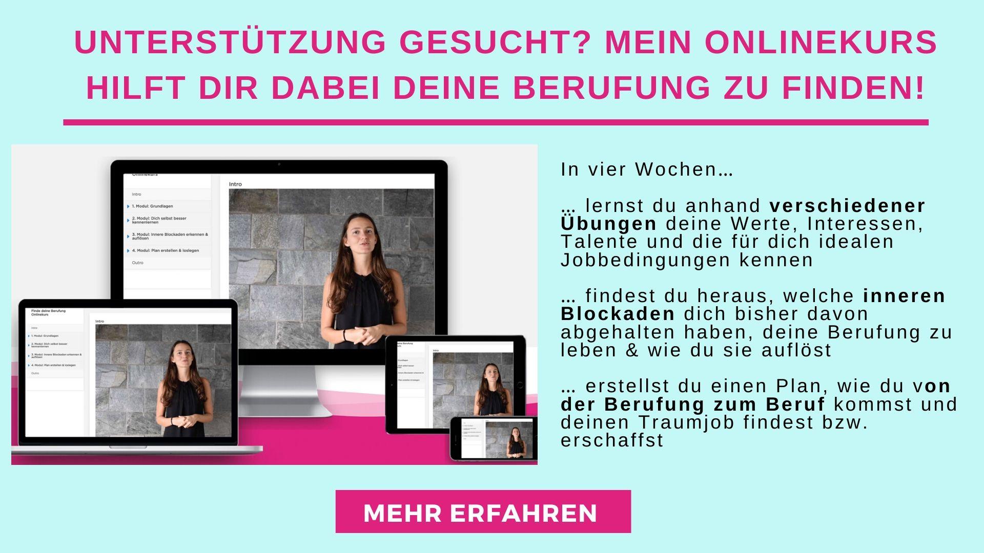 Onlinekurs Finde deine Berufung