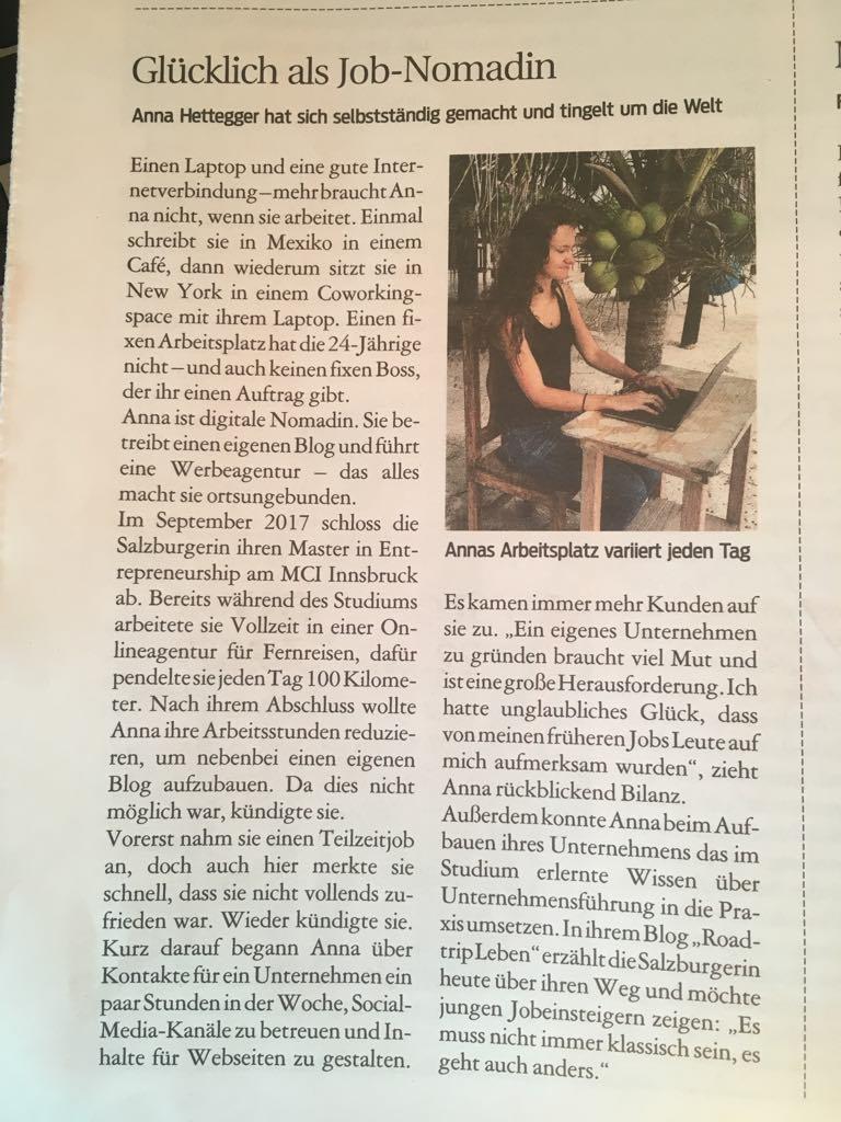 Kurier Artikel über Anna Hettegger von Roadtrip Leben
