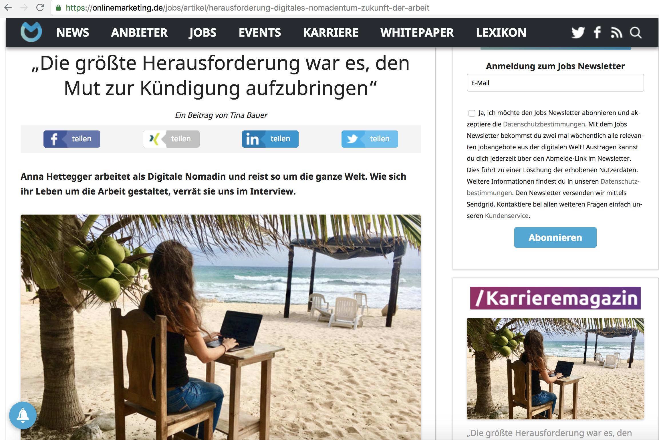 Anna Hettegger von Roadtrip Leben Interview auf OnlineMarketing.de